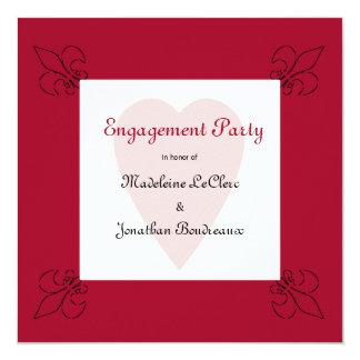 """Renaissance Style Fleur de Lis Engagement 5.25"""" Square Invitation Card"""