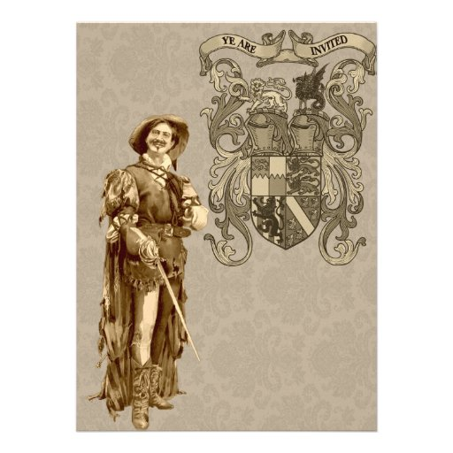 Renaissance Swordsman ~ Vintage Illustration Invitations