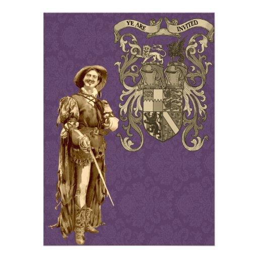 Renaissance Swordsman ~ Vintage Illustration Personalized Announcements