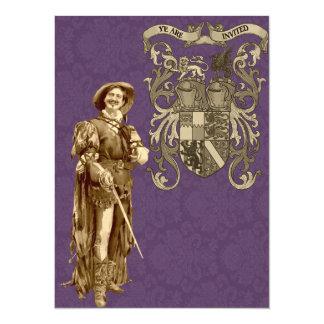 "Renaissance Swordsman ~ Vintage Illustration 5.5"" X 7.5"" Invitation Card"