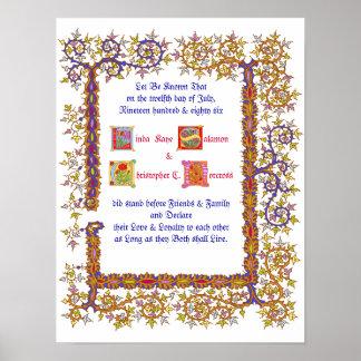 Renaissance Wedding Certificate Poster