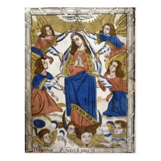 Rendering depicting Assumption of Virgin Mary Postcard