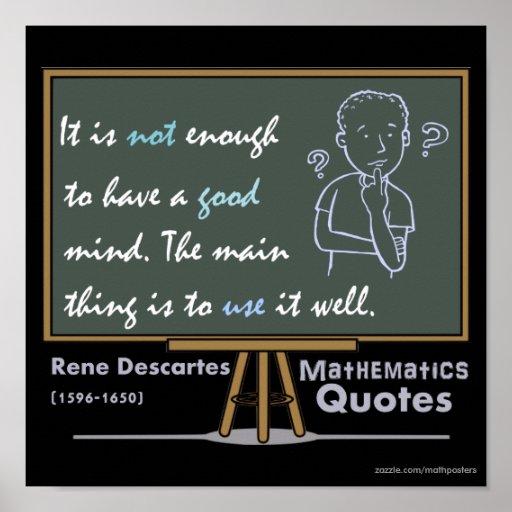 Rene Descartes Mathematics Posters Quotes