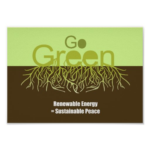 Renewable energy = Sustainable peace Poster