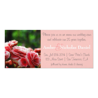 Renewal of vows & 25th Anniversary: Pink Carnation 10 Cm X 24 Cm Invitation Card