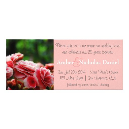 Renewal of vows & 25th Anniversary: Pink Carnation Custom Announcements