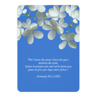 """Renewing Vows Blue and White Floral Invitations 5"""" X 7"""" Invitation Card"""