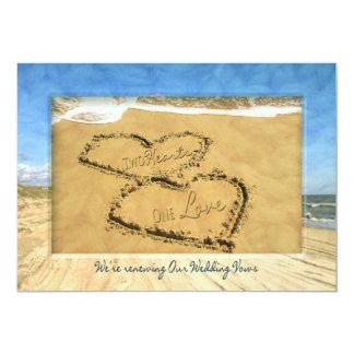 RENEWING WEDDING VOWS BEACH INVIATION - TWO HEARTS CARD