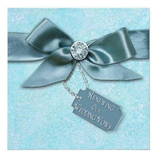 RENEWING WEDDING VOWS INVITATION - BLUE/RIBBON CUSTOM INVITATIONS