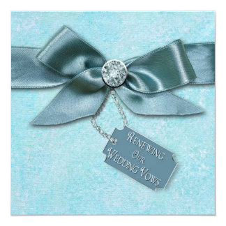 RENEWING WEDDING VOWS INVITATION - BLUE/RIBBON