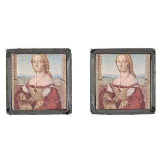 Rennaisance Unicorn and Lady Raphael Painting Gunmetal Finish Cuff Links