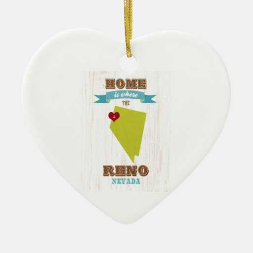 Reno, Nevada Map – Home Is Where The Heart Is Christmas Ornaments
