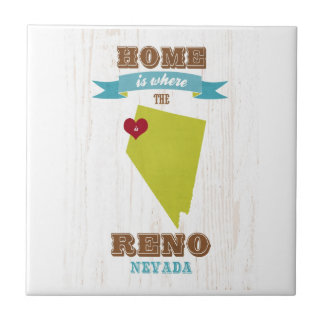 Reno, Nevada Map – Home Is Where The Heart Is Small Square Tile