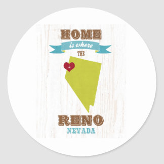 Reno, Nevada Map – Home Is Where The Heart Is Round Sticker