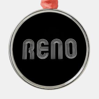 Reno Sign White Metal Ornament
