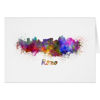 Reno skyline in watercolor card