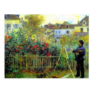 Renoir - Monet Painting in His Garden Postcard