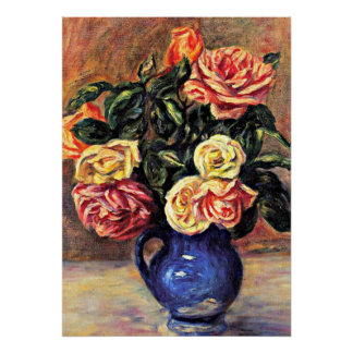 Renoir - Roses in a Blue Vase Poster