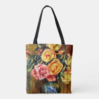 Renoir - Roses with Blue Curtain Tote Bag