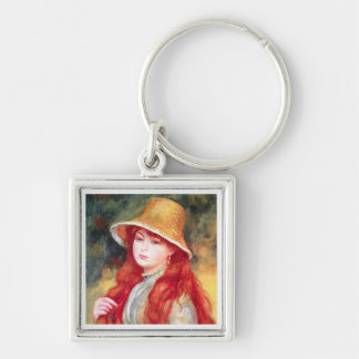 Renoir Straw Hat Silver-Colored Square Key Ring