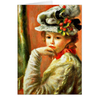 Renoir - Young Girl in a White Hat Card