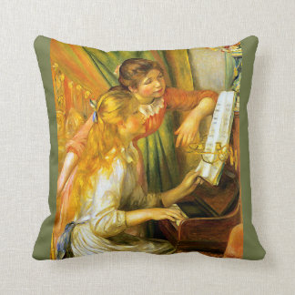 Renoir Young Girls Playing Piano Music Cushion
