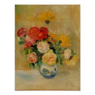 Renoir's A Vase of Roses and Dahlias Poster