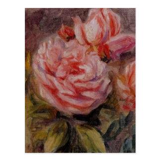 Renoir's Roses in a Vase Still Life Postcard