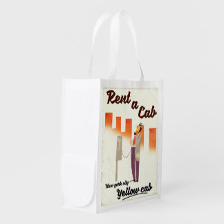 Rent a Cab! NYC Yellow cab poster Reusable Grocery Bag