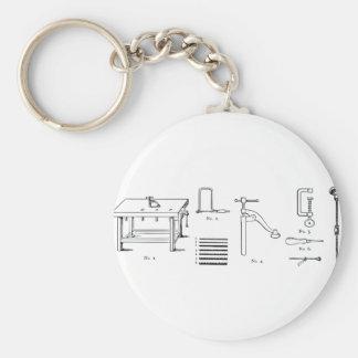 Repair Schematics Design Basic Round Button Key Ring