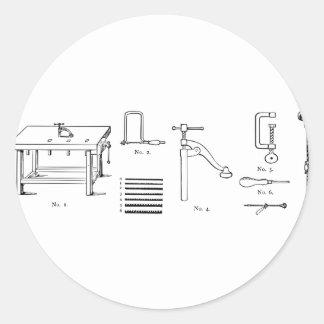 Repair Schematics Design Classic Round Sticker