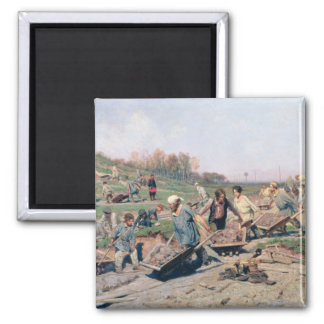 Repair Works on the Railway Line, 1874 Square Magnet