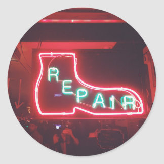 Repare Neon Sign NYC Round Sticker