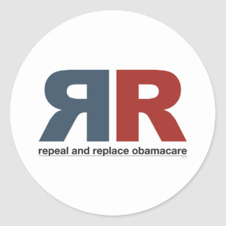 Repeal And Replace Obamacare Round Sticker