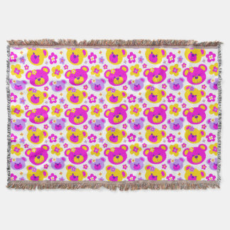 Repeat pattern teddy bear flower pink yellow throw