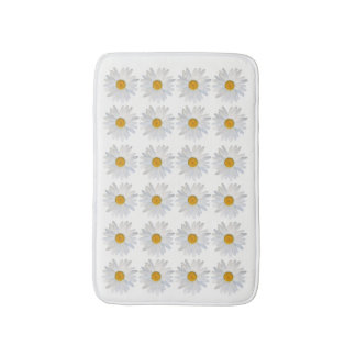 Repeated Daisy Pattern on clean white background Bath Mat