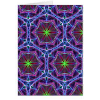 Repeating Blue flower kaleidoscope pattern Cards