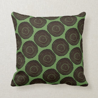 Repeating Brown Tree Rings Throw Pillow