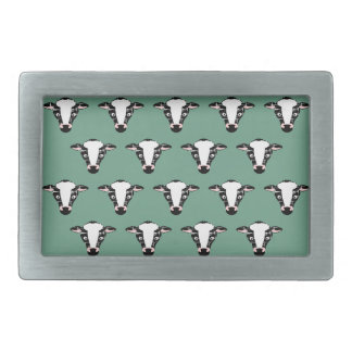Repeating Cow Face Pattern Rectangular Belt Buckles