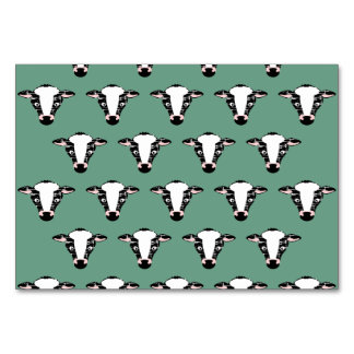 Repeating Cow Face Pattern Table Card