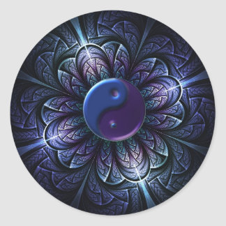 repeating fractal yin-yang classic round sticker