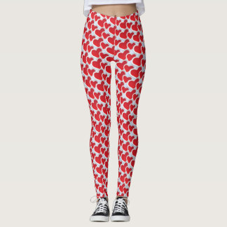 Repeating Pattern with 2 Red Paper Hearts Leggings