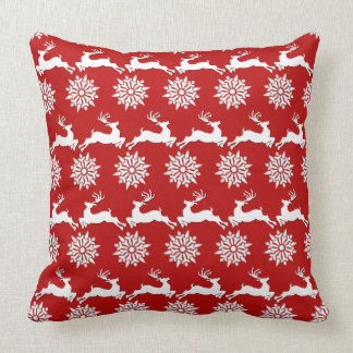 Repeating Reindeer and Snowflake Patterned Cushion