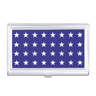 Repeating White Stars on Blue Background Pattern Business Card Cases