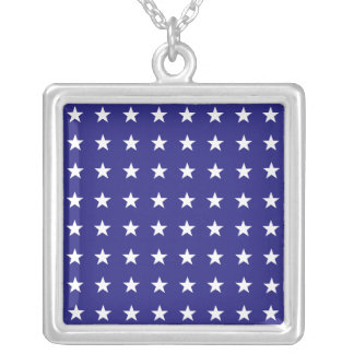 Repeating White Stars on Blue Background Pattern Silver Plated Necklace