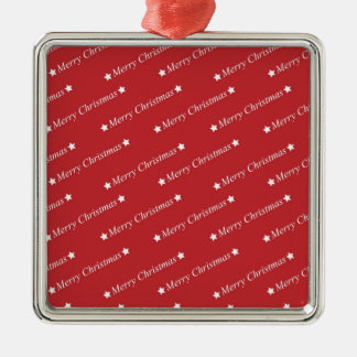 Replace Image Merry Christmas Silver-Colored Square Decoration