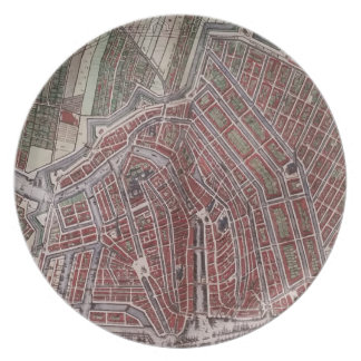 Replica city map of Amsterdam 1652 Dinner Plates