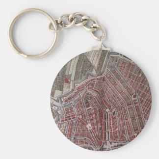 Replica city map of Amsterdam 1652 Key Ring