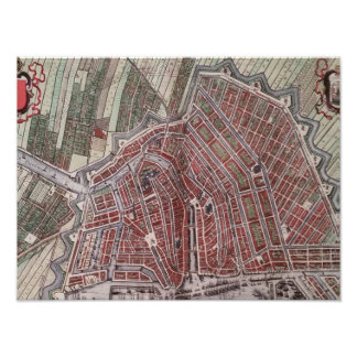 Replica city map of Amsterdam 1652 Photographic Print