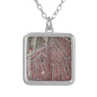 Replica city map of Amsterdam 1652 Silver Plated Necklace